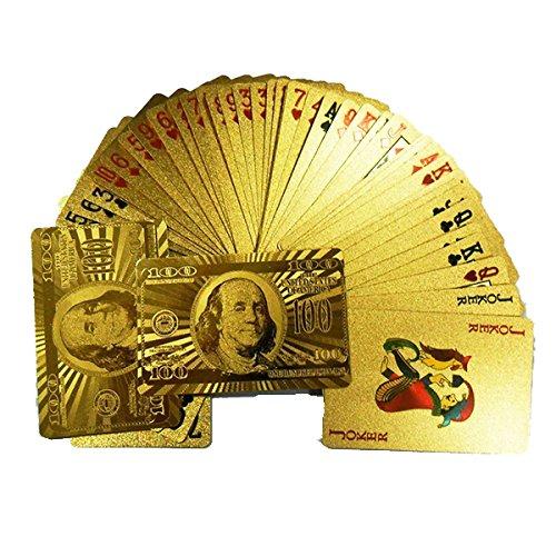 Preisvergleich Produktbild Tinksky Blattgold-Dollar Stil Poker Spielkarten