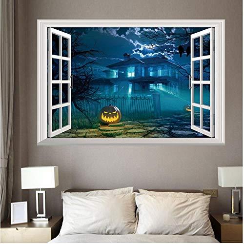Wandaufkleber 3D Halloween Stil Muster Gefälschte Fenster Malerei Home Wohnzimmer Schlafzimmer Dekorative Wandaufkleber