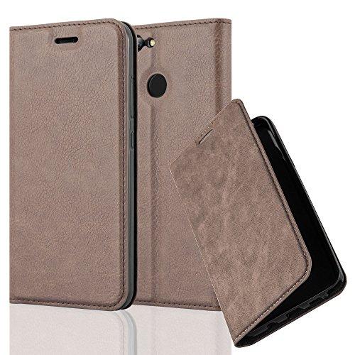 Cadorabo Hülle für Huawei NOVA 2 - Hülle in Kaffee BRAUN – Handyhülle mit Magnetverschluss, Standfunktion und Kartenfach - Case Cover Schutzhülle Etui Tasche Book Klapp Style