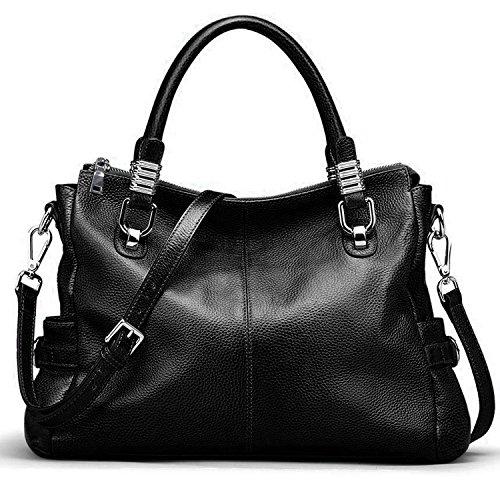 Yaluxe Mujer Monedero del bolso de hombro de cuero del estilo urbano Negro