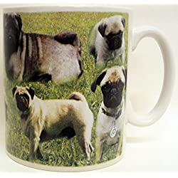 Taza de carlino collage Pug de porcelana decorado a mano en el Reino Unido