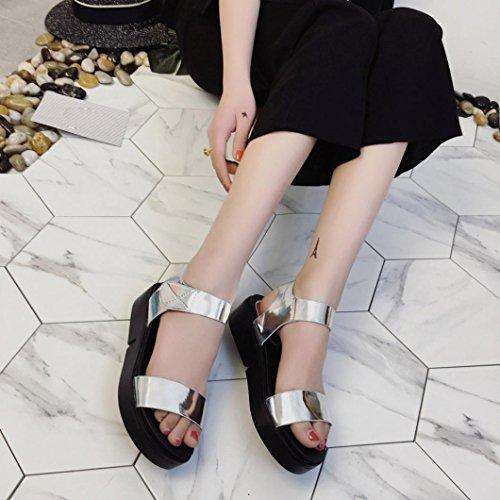 Transer ® Femmes été plate-forme Sequins Wedges Open Toe en cuir sandale Argent