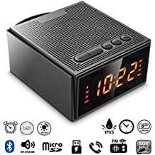 Altavoz Bluetooth,Radio Despertador Inalámbrico(Pantalla digital,Luz regulable,Cuatro alarma) ,8W Altavoz Bluetooth Portátil Recargable con 12 horas de reproducción,Radio FM,Manos-libres,Tarjeta Micro SD,Bluetooth V4.2 para iPhone,Android