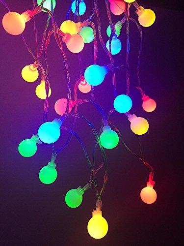 Dupad story - ghirlanda luminosa con 50 sfere al led, 5m, alimentazione a batteria, adatta all'uso interno ed esterno, decorativa, ideale per natale, festa di nozze, decorazione della casa colorful