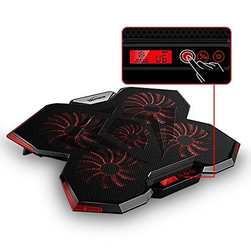 TopMate C7 Base de Refrigeración para Portátiles Gaming de 15.6-17.3 pulgadas. Cinco Ventiladores Grandes y Pantalla Táctil LCD, Aire Fuerte 2400 RPM, Diseñado con Estilo Alienígena para Jugadores y Oficina.