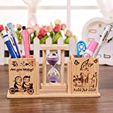 #7: Jiada Wooden Sand Hourglass Timer Double Pen Holder Pencil Stand | Desk Decor