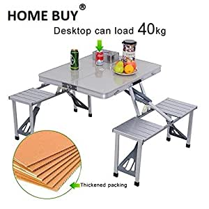 Buy Home Buy 4 Seater Folding Picnic Table Chair Set Portable Online At Low Prices In India Amazon In