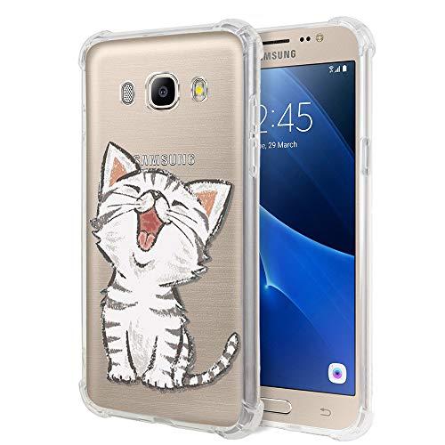 """Zhuofan Plus Coque Samsung Galaxy J5 2016, Silicone Transparente avec Motif Design Antichoc Coussin d'air Housse TPU Souple Airbag Shockproof Case Cover pour Samsung J5 2016 5,2"""", Petit Chat"""