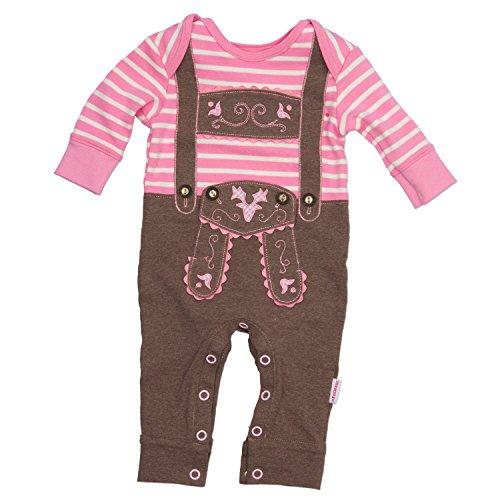 Baby Strampler rosa langarm mit Druckverschluss im Schritt Lederhose mit Hosenträgerapplikation in Größe 80 - fescher Trachtenlook