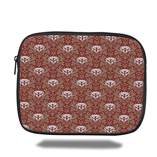 Tablet Bag for Ipad air 2/3/4/mini 9.7 inch,Gothic,Baroque Pattern with Floral Curves Old Fashioned Antique Design Skull Motifs Decorative,Ruby Cocoa White,Bag -