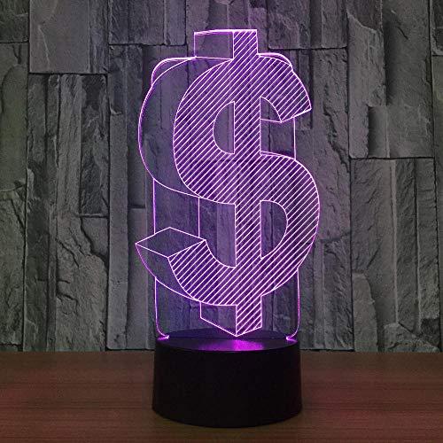 ED, 7 Farben-Dollar-Zeichen-Licht, optische Nachtlichter, Tischlampen-Atmosphären-Dekoration, Kindergeburtstags-Geschenke ()