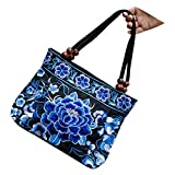 SODIAL(R) Chinese Style Women Handbag Embroidery Ethnic Summer Fashion Handmade Flowers Ladies Tote Shoulder Bags Cross-body £¨Blue Peony£©