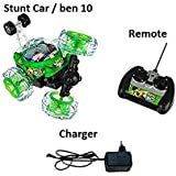 Stunt Car With Remote Control Music Lights Cross Over Fun To Play [Assorted Colour] Ideal For Gift To Naughty Boys ( Multi Character)