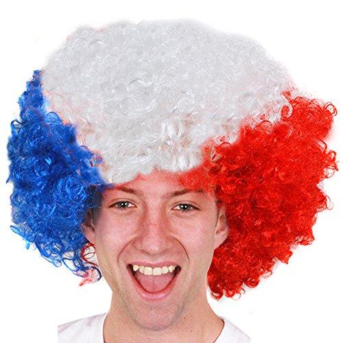 I love Fancy Dress ilfd2260Französische Flagge Unisex Afro Supporters Perücke, eine (Kleid Flagge Französische)