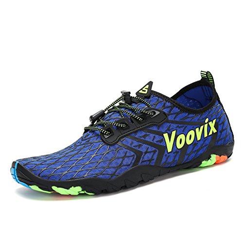 Voovix Zapatillas de Agua Escarpines Hombres Zapatos Ligeros Transpirables para Buceo Snorkel Surf Piscina Playa Yoga Deportes Acuáticos,Azul,41