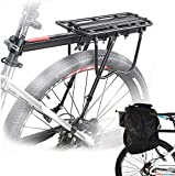 Malayas - Bicycle Rear Rack Carrier Rack Holder Adjustable Rear Bicycle Black Seat Holder MTB Luggage Cargo Carrier with Reflector 50KG Capacity