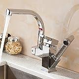 STAZSX Laiton massif européen pivotante salle de bain pull robinet robinet chaud / froid cuisine évier multifonctions robinet intérieur robinets, mixeur multifonction