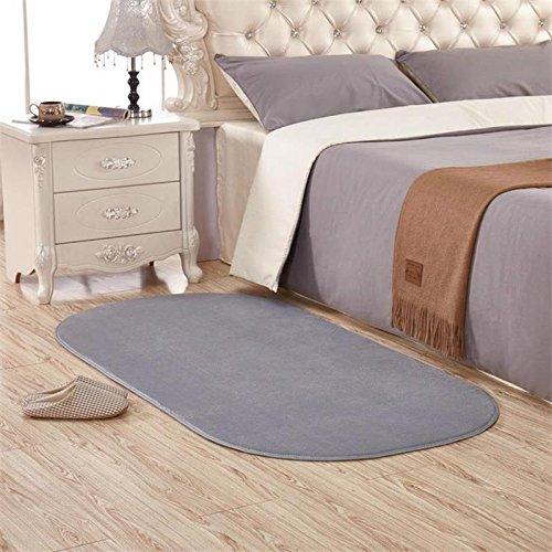KOOCO groß oval Koralle Samt und Teppiche Couchtisch, die Moderne Teppiche für das Wohnzimmer, Kurze, Zuhause Schlafzimmer Teppich-Matte Schaumstoff Bereich Teppich, Sliver Grey, 140X200CM