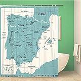 Awowee - Cortina de Ducha (180 x 180 cm, poliéster, Impermeable, con Ganchos), diseño de Mapa de España