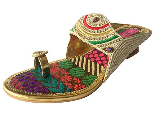Ethnic Indian Shoes-Scarpe da donna Wedding Party Shoes Khussa Jutti scarpe Multicolor