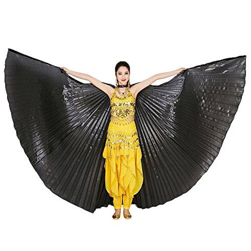 Tanz Schal,Tonsee Ägypten Bauch Flügel Tanzen Kostüm Polyester Bauchtanz Zubehör No Sticks (Schwarz)