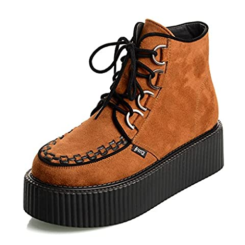 RoseG Femmes Lacets Plate Forme Gothique Punk Creepers Bottes Chaussures Rorange Taille39