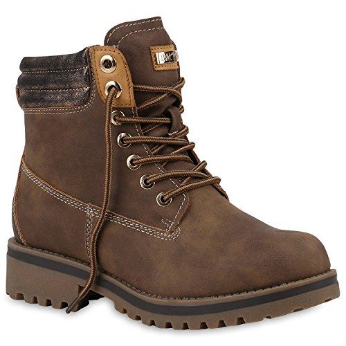 Damen Stiefeletten Worker Boots Warm Gefütterte Outdoor Schuhe 153730 Khaki Cabanas 38 Flandell