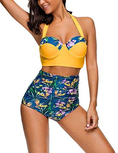 HiMiss Damen Badeanzug Retro Boho Volants hohe Taille Unterwäsche Bikini Zweiteiliger Badeanzug - Gelb - X-Large -