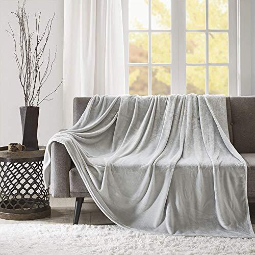 Kuscheldecke XXL Silber Grau Wohndecke 280GSM Tagesdecke Decke Flauschig Weich und Angenehm Warm Überwurf Sofadecke mit Premium Cashmere Feeling, 200x240cm