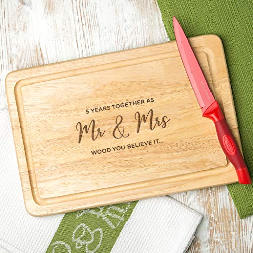 5 Years Married 'Wood You Believe It' Pun Wooden Chopping Board - 5th Wedding Gifts for Couples for Husband Wife Her Him - 30cm x 20cm Rectangle Cutting Board