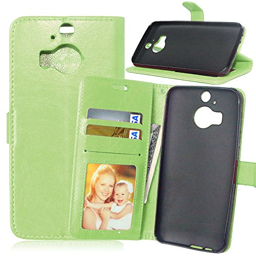 Nancen Compatible with Handyhülle HTC One M9 Plus (5,2 Zoll) Lederhülle Style Acht Farbe Weich PU Flip Case Ledertasche/Schutz Etui, Karten Slot Foto Wallet Hülle