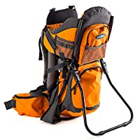 Luvdbaby Premium Baby Backpack Carrier for Hiking with Kids - Carry Your Child Ergonomically (Orange/Grey)