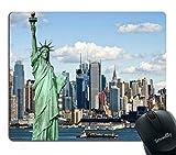Tappetino per mouse New York, Statua della Libertà NYC Harbor Urban City Stampa Quadro culturale famoso Immagine, Tappetino per mouse non rettangolare in gomma antiscivolo, Mint Blue,Tappetino in gomm
