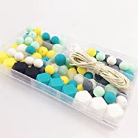 Silikon hölzernes Zahnen-Korn-Krankenpflege-Halskette DIY Silikon-Zahnen-Installationssatz-geometrische Hexagon-Silikon-hölzerne Korne-Zahnen-Halskette Baby-Zettel-Spielwaren