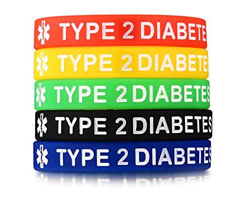 PJ JEWELRY 5 Silikonkautschuk Typ 2 Diabetes Medical Alert ID Armband Notfall Armbänder,5 Farben (Typ-2-diabetes-armbänder)