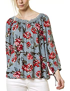 Blusa con estampado floral y encaje