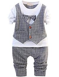 CHIC-CHIC Ensemble Bébé Garçons Enfants T-shirt à Manches Longues + Pantalons Gentleman Déguisement Faux Gilet Nœud Papillon