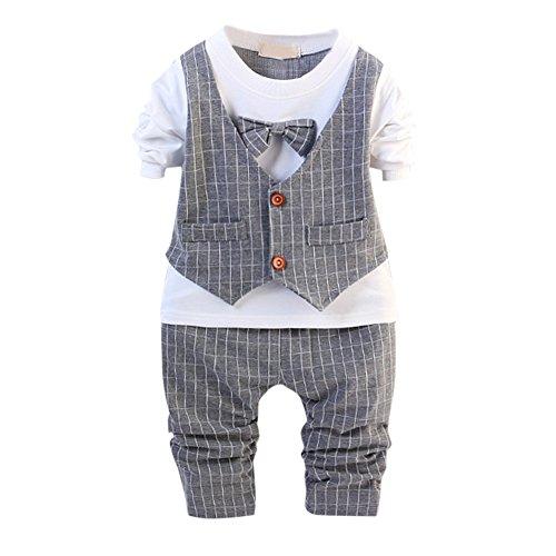 De feuilles Kinder Bekeleideung Set Baby Geschenk Baumwolle 2stk Gentleman Neugeborenes Langarm Anzug Baby Pants + Shirt Kleidung Suit (80, Grau)