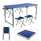 MultiWare Folding Table and 4 Chairs Set Portable Outdoor For Picnic Garden Dining Camping Blue