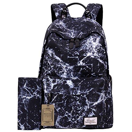 Mocha weir JIAYBL Laptop Taschen Schultern Kinder Schultaschen Rucksack Hochschule Mädchen Canvas Pack reisen (Hellgrau) Schwarzes Wasser