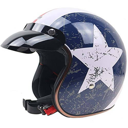 Lidauto Motorradhelm Nostalgie Schutzhelm Motorrad Mofa Retro mit Visier Haltbarkeit,L