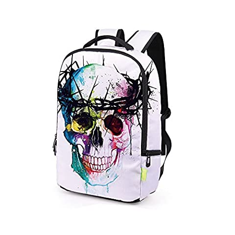 3D Galaxy Travel Satchel Students School Backpack for Boy Teens Shoulder Bag Double Zipper Closure Skull Oil Paiting Multi Patterns Rucksack Outdoor Travel Camping Mumustar (I)