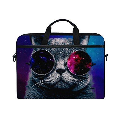 jstel Abstrakt Nebel Universe Starry Katze Cool Sonnenbrille Laptop Schulter Messenger Tasche Fall Sleeve für 35,6cm zu 39,6cm mit verstellbarer Notebook Schultergurt