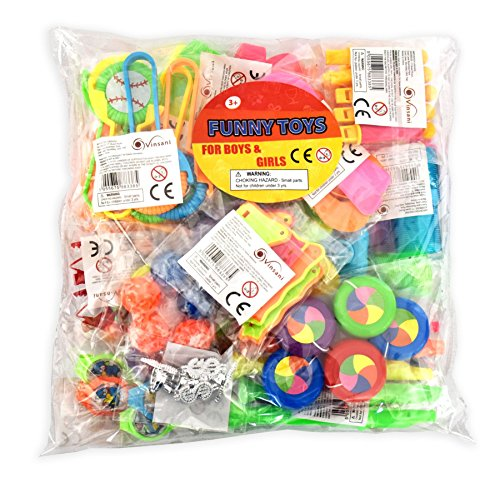 Vinsani 100 Assorted Party Bag Stocking Fillers Toys Gifts Pinata Lucky Dip Birthday Bulk Buy Party School Fun Prizes Basket Stuffers For Kids Children