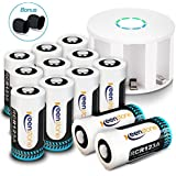 Arlo Akku Batterien CR123A mit Ladegerät, [2019 Version] Keenstone RCR123A 3.7V 750mAh Li-ion Batterie Wiederaufladbare für Arlo HD Kamera VMC3030/3230/3330/3430 (12 Stück)