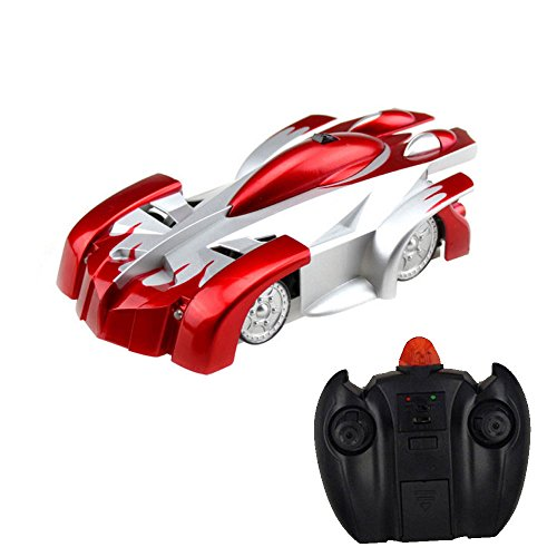 Bestofferbuy 4CH Remote Control Spiderman Wall Climbing Climber Stunt Toy Car, Red