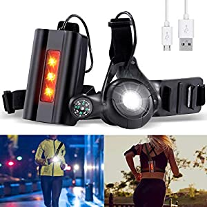 SGODDE Running Light Ricaricabile USB, Luce Corsa 3 Modi 500 LM Impermeabile con Bussola per GoPro, Leggero, Comodo e Perfetto Lampada Corsa per Jogging, Camminare, Campeggio, Ciclismo (Potenziato) 4 spesavip