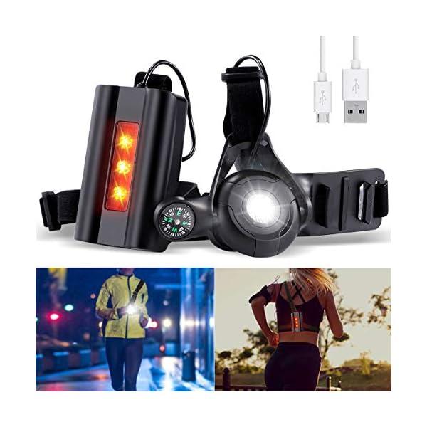 Running Light Ricaricabile USB, SGODDE Luce Corsa 3 Modi 500 LM Impermeabile con Bussola per GoPro, Leggero, Comodo e… 1 spesavip