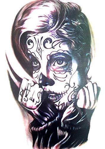 EROSPA® Tattoo-Bogen temporär - Day of Dead La Catrinas Frauenkopf - 21 x 15 cm