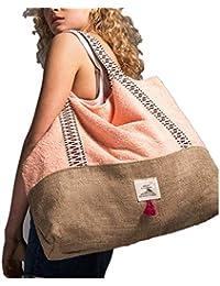 Brenice Bolso de mujer con tejido de toalla Bolsa de playa Bolso de mano informal Bolso